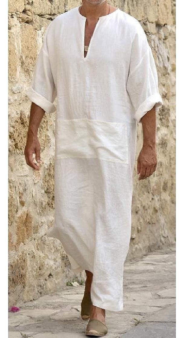 Macondoo Mens Muslim Gown Kaftan Abaya Plus Size Cotton Linen V Neck T-Shirts