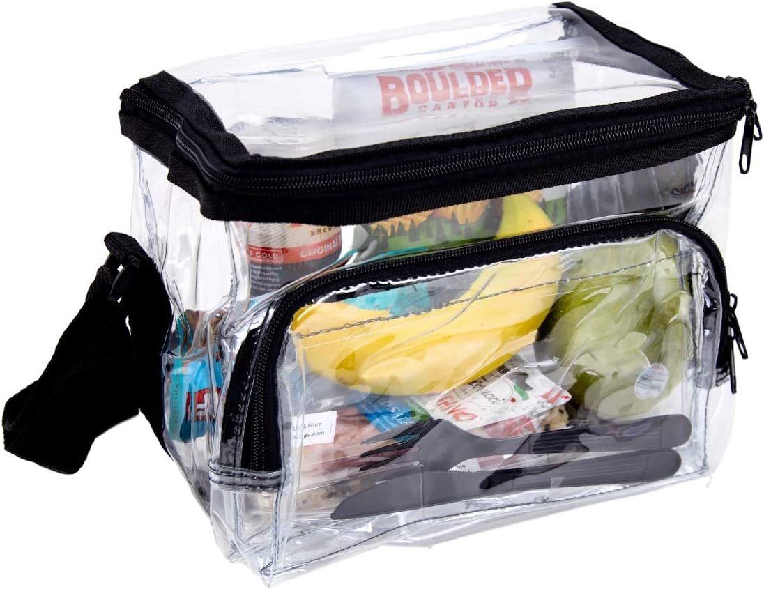 Large Clear Lunch Bag Heavy Duty Box W Adjustable Straps /& Front Storage Compart