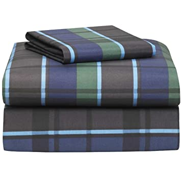 hampton navy plaid 3 piece twin xl sheet set for college dorm bedding
