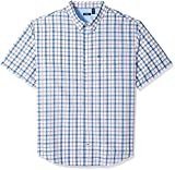 IZOD Men's Tall Short Sleeve Plaid Seersucker Shirt, Bright White, 3X-Large Big