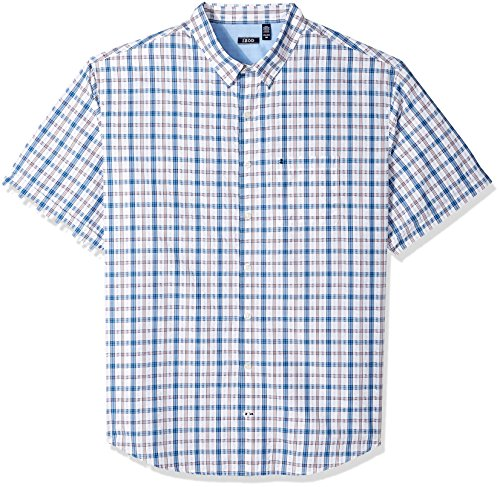 t Sleeve Plaid Seersucker Shirt, Bright White, 4X-Large Big ()