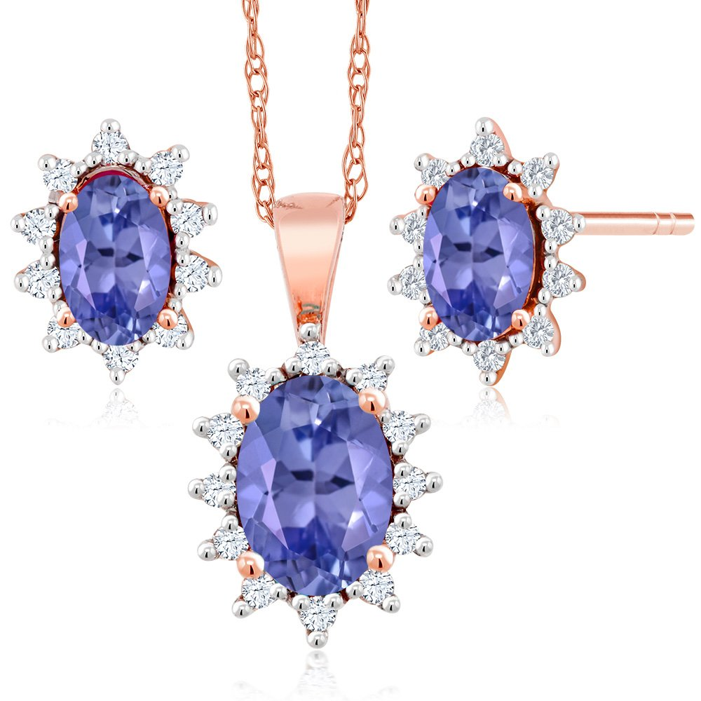 18K Rose Gold 1.13 Ct Oval Blue Tanzanite and Diamond Pendant Earrings Set
