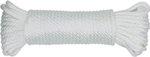 "Huouo 1/4"" Flagpole Rope - Solid Braid Polyester Flag Halyard Line Designed for Flag Pole (50 Feet)"