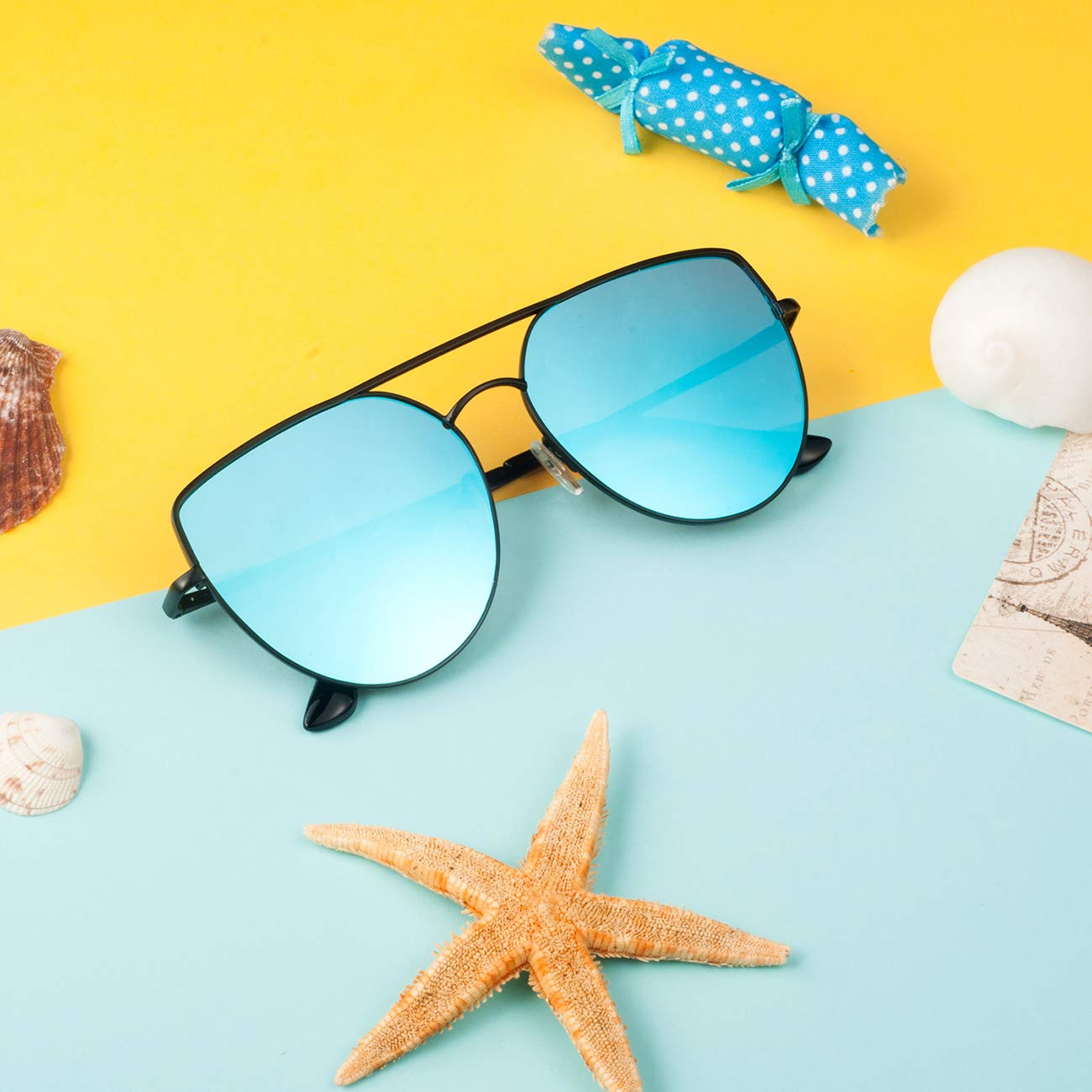 9ca129b60 Amazon.com: Oversized Sunglasses for Women- Feirdio Mirrored Cat Eye  Sunglasses Metal Frame women sunglasses 2269 (black Frame/blue Mirrored  Lens, ...