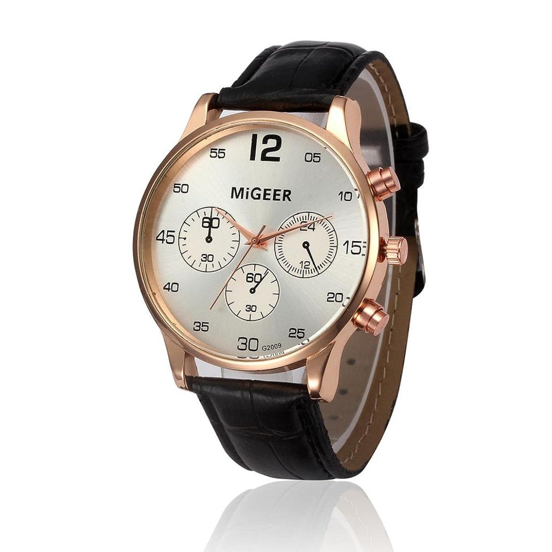 メンズ時計、Sinmaレトロデザインレザーバンド腕時計アナログ合金Quartz Wrist Watch for migeer B07283D5H9