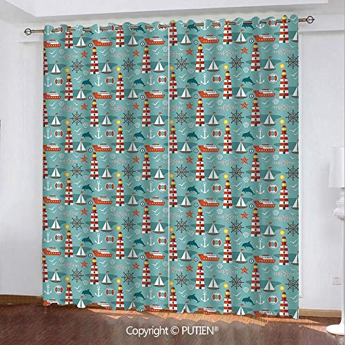 - Satin Grommet Window Curtains Drapes [ Lighthouse,Beacon Tower with Boats Ship and Animal Silhouettes Marine Themed Illustration Decorative,Multicolor ] Window Curtain for Living Room Bedroom Dorm Roo