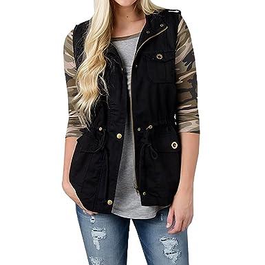 5abc8016db0 Womens Lightweight Sleeveless Military Drawstring Hooded Anorak Vest Jacket  With Pockets (Black