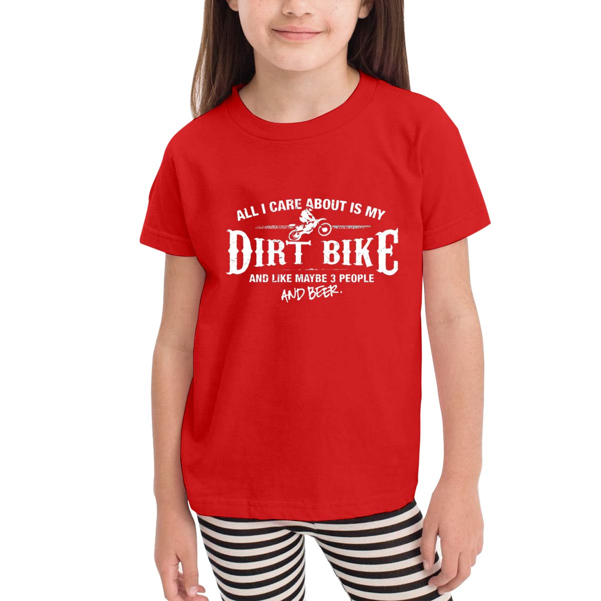 Kids T-Shirt Tops Black All I Care About is My Dirt Bike Unisex Youths Short Sleeve T-Shirt