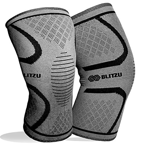 BLITZU Flex Plus Compression Knee Brace for Joint Pain, ACL MCL Arthritis Relief Improve Circulation Support for Running Gym Workout Recovery Best Sleeves Patella Stabilizer Pad (X-Large, Gray)