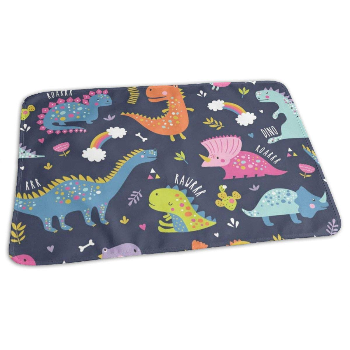 Osvbs Lovely Baby Reusable Waterproof Portable Cute Funny Kids Dinosaurs Pattern Changing Pad Home Travel 27.5''x19.7'' by Osvbs