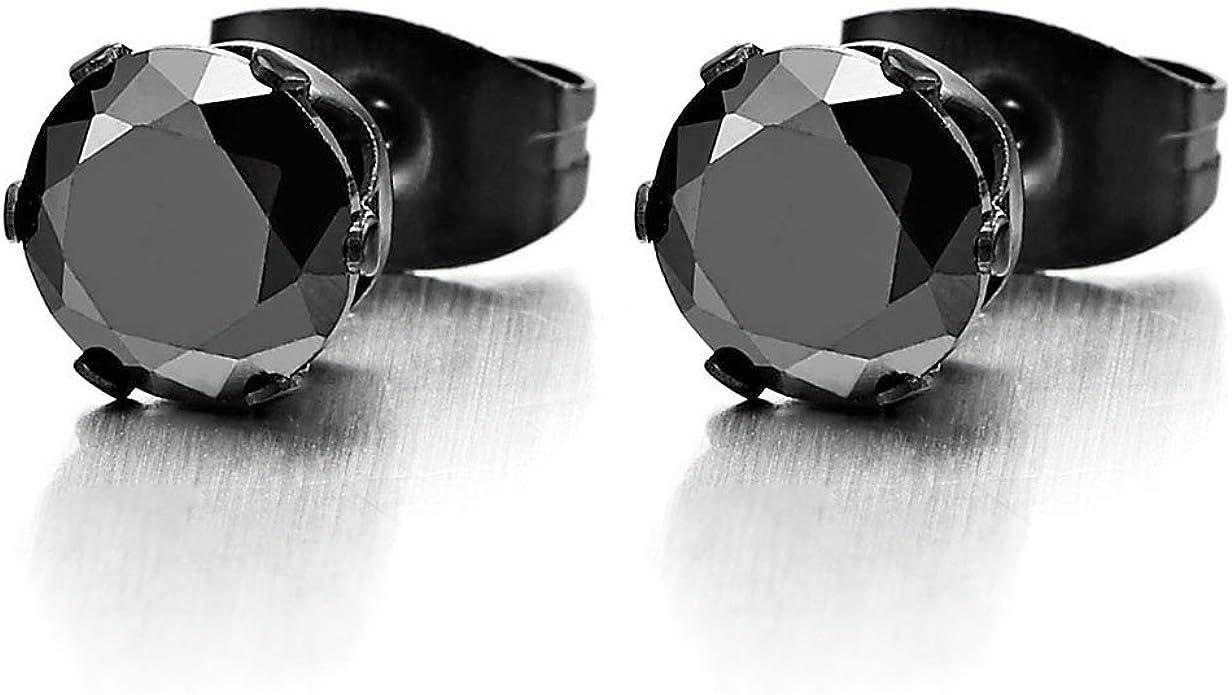 Pair stainless steel black round zircon ear stud simple earring  jewelry 3mm-8mm