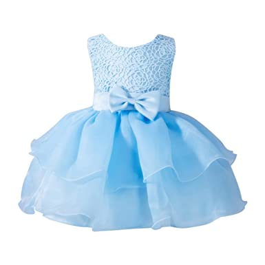 Loveble Baby Newborn Girls Sleeveless Princess Bowknot Dress Toddler Wedding Pageant Communion Party Mini Tutu Dresses for 0-2 Year