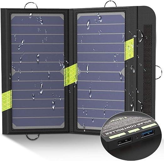 X-DRAGON Cargador Panel Solar 14W (Dual USB Puertos, Inteligente ...
