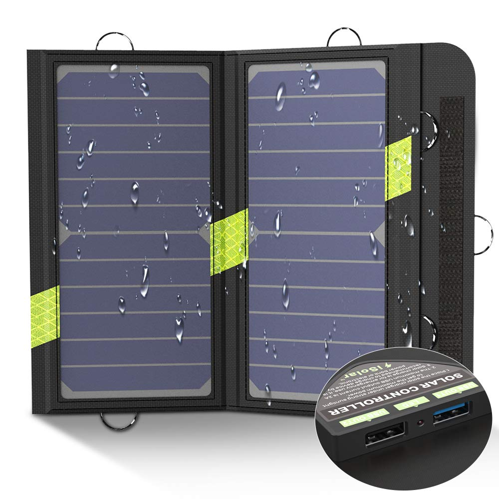 X-DRAGON Portable Solar Chargers 14W SunPower Solar Panel Waterproof Foldable Camping Battery Charger with Dual USB Port & SolarIQ Technology for ...