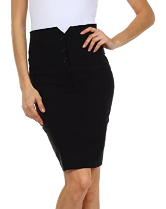 Knee Length High Waist Stretch Pencil Skirt at Amazon Women's ...