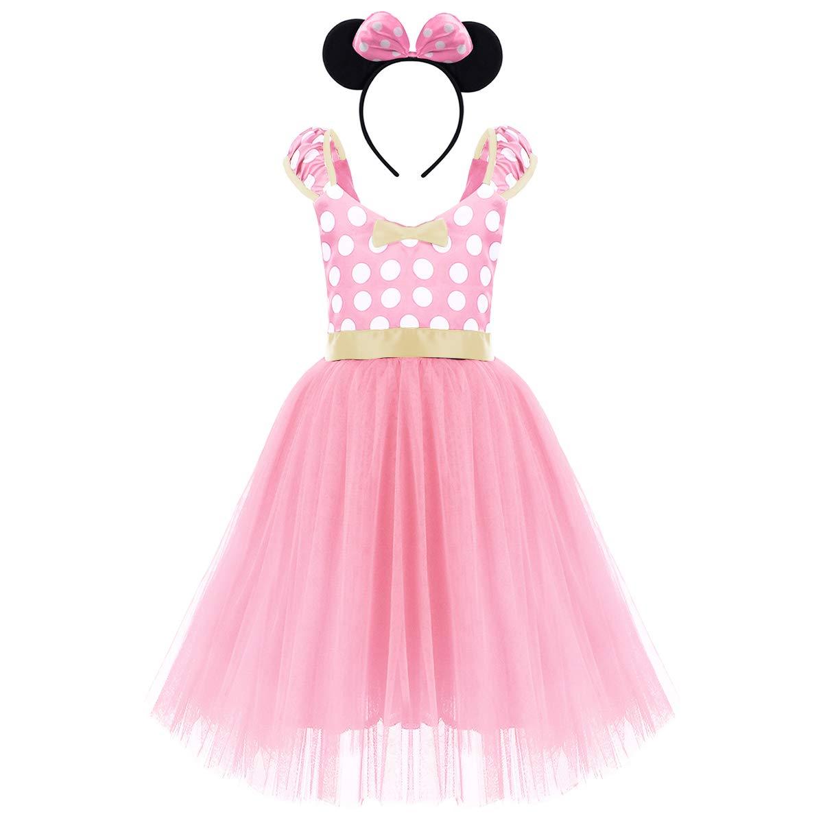 IWEMEK Princesa Disfraz de Minnie para Beb/é Ni/ña Navidad de los Lunares del Vestido del Tut/ú de Tul Cumplea/ños Fantas/ía Infantiles Vestido Carnaval Bautizo Ballet Baile con Diadema 1-7 A/ños