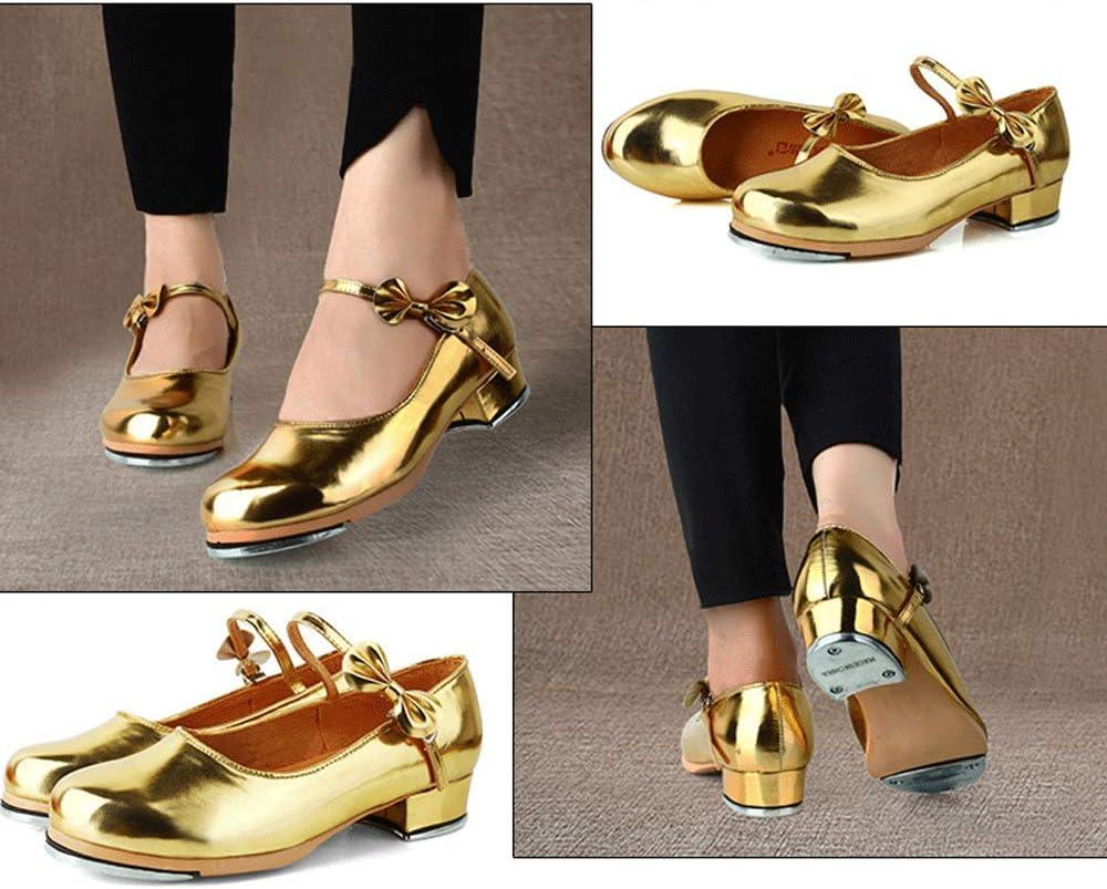 JFZS meisjes dames Bow-Knot Low Heel doorgestikte schoenen Goud