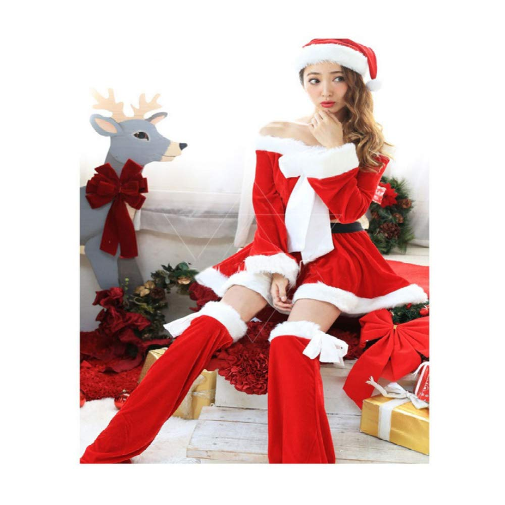 CVCCV 2018 Christmas Costume Performance Costume Little Red Riding Hood Dress Set Halloween Costume gold Velvet Fabric Suitable For Women (Red)