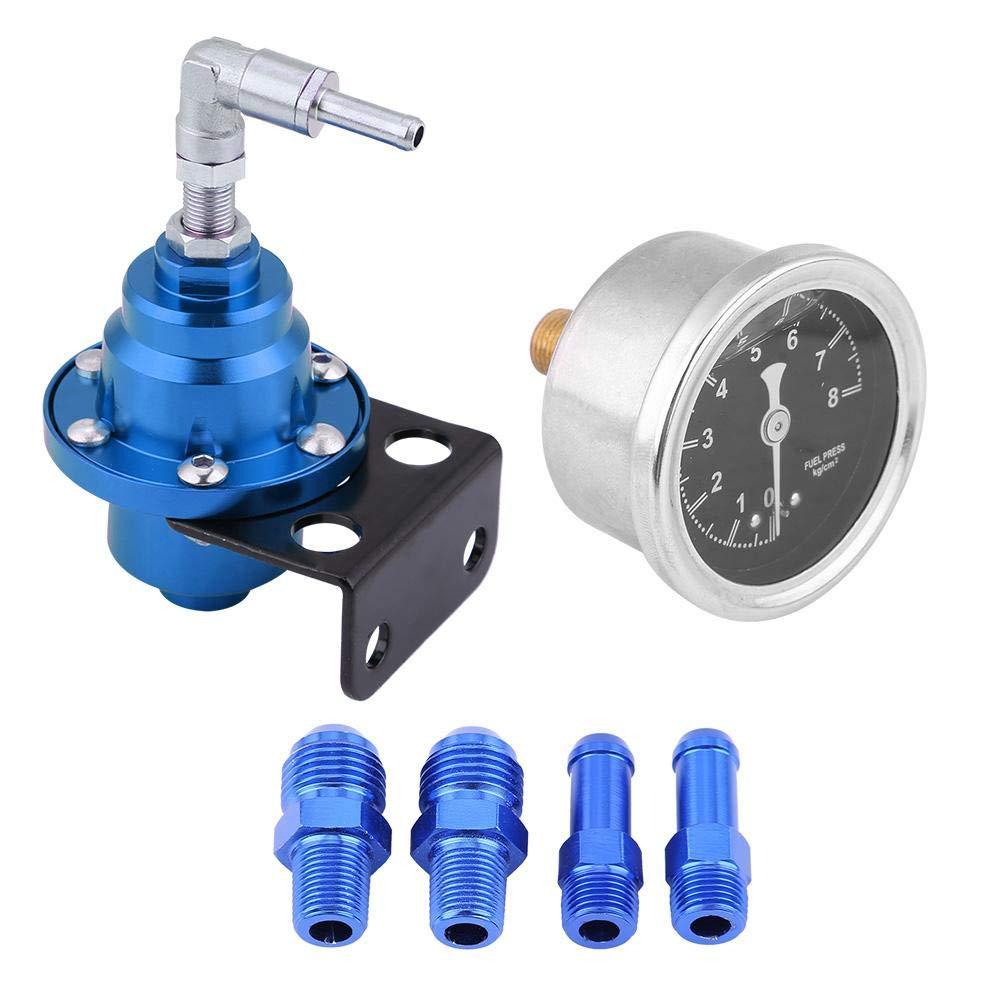 (紫色) KIMISS Universal Aluminum Car 160psi Adjustable 1 1 Fuel Pressure Regulator Oil Gauge Kit