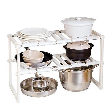 wanshop ajustable estante de cocina bajo fregadero armario almacenamiento organizador accesorio de ollas sartenes: Amazon.es: Hogar