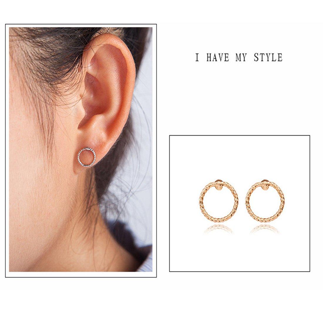 Hemlock Women Girl Simple Circle Earrings Ear Stud (Gold)