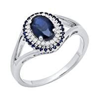 Dazzlingrock Collection Sterling Silver Round & Oval Cut Blue Sapphire & Round White Diamond Engagement Ring