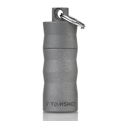 TOMSHOO Titanium EDC contenedor cápsula a Prueba de Agua Botella de píldoras Caja Caja Llavero Camping Supervivencia al Aire Libre Kit de Viaje de ...