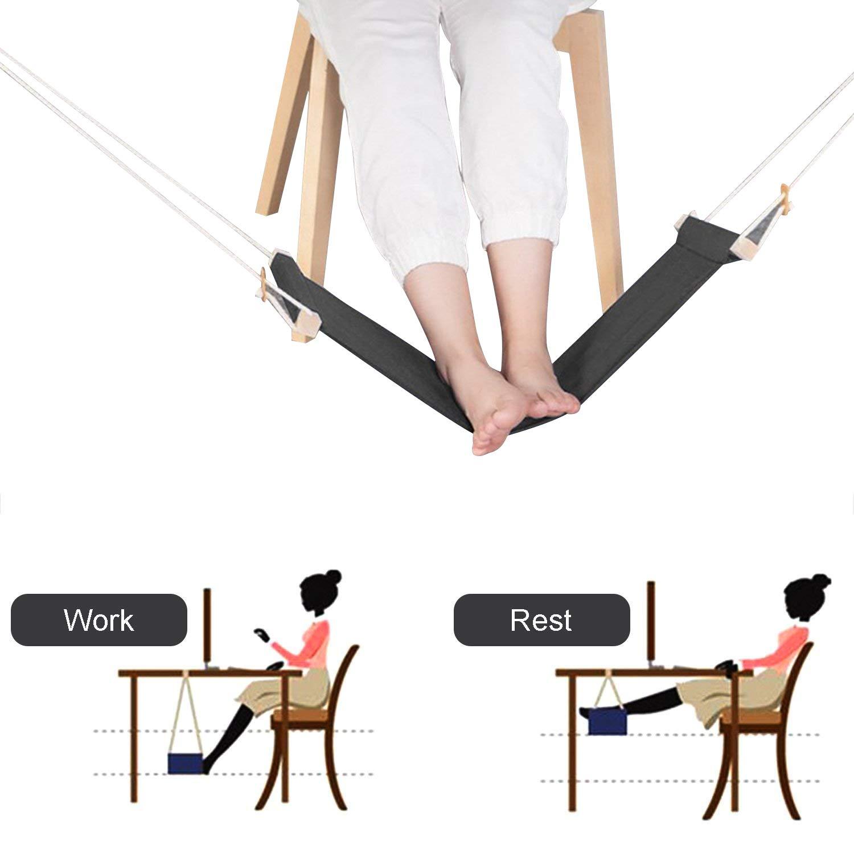 Piedi Amaca 2.0, Porta Cuffie incluso, KidsHobby Supporto Regolabile Ergonomico Portatile per Amaca, Rilassa i piedi e allevia la fatica, Perfetto per l'home office (Nero) KidsHobby®