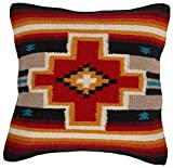 Decorative Pillow Cover - El Paso Designs Throw Pillow Covers 18 X 18- Hand Woven Wool in Southwest, Mexican, and Native American Styles- Hand Crafted Western Decorative Pillow Cases in Wool. (Terracota Cross)