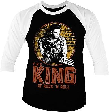 ELVIS PRESLEY Licenciado Oficialmente The King of Rock n Roll Baseball Camisa de Manga 3/4 para Hombre (Negro-Blanco)
