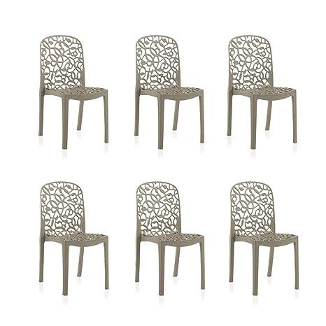 Shaf – Pack de 6 sillas de exterior/interior Flora. Color topo