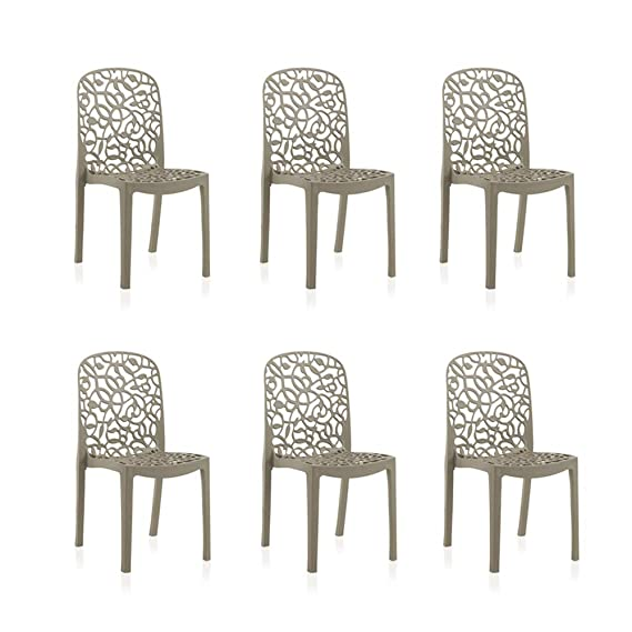 Shaf - Pack de 6 sillas de exterior en color topo.