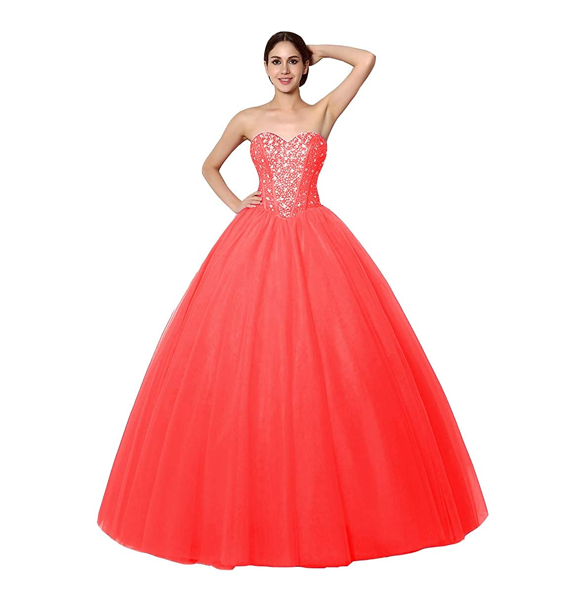 Coral FTBY Sweetheart Beaded Quinceanera Dress Sweet 16 Tulle Ball Gowns Long Prom Dress Crystals 2019