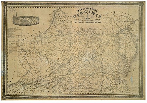 Vintage 1864 Map of the state of Virginia : containing the counties, principal towns, railroads, rivers, canals & all other internal improvements. United States, (Virginia Antique Map)
