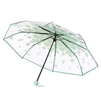Paraguas, hunpta transparente paraguas Cherry Blossom seta Apollo Sakura 3 Fold paraguas, verde