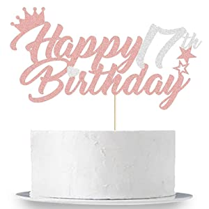Happy 17th Birthday Cake Topper Silver and Rose Gold Glitter Seventeen Birthday Party Cake Decor Hello 17/Cheers to 17 Years Old/17 & Fabulous Girls 17th Birthday Party Cake Supplies Decoration