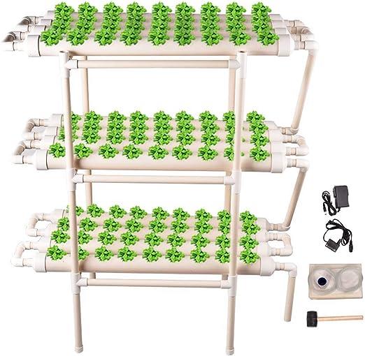 HUKOER Kit de Cultivo hidropónico, 108 Hoyos, 12 Tubos, 3 Capas con Bomba de silenciamiento y Esponja, jardín hidropónico Hutdoor para Sistemas de Cultivo de Plantas sin Suelo hidropónico: Amazon.es: Jardín