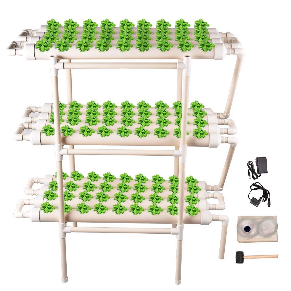 Soiiw Hydroponic Grow Kit 3 Layers 108 Plant Sites 12 Pipes Hydroponic Planting Equipment Ebb and Flow Deep Water Culture Balcony Garden System Vegetable Tool Grow Kit by Soiiw