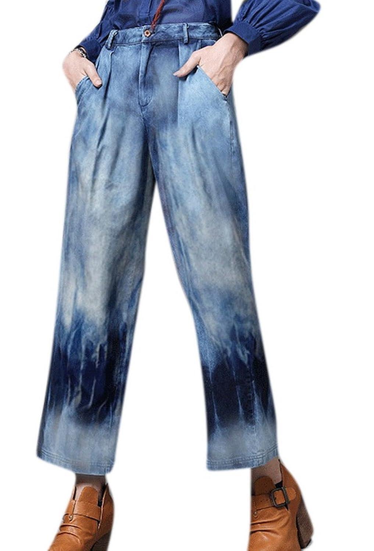 Tengfu Women Chic Retro Gradient Blue Loose Wide Leg Bootcut Denim Jeans Pants