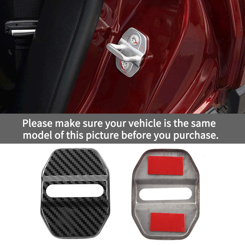 Car Door Lock Latches Cover Protector for Jeep Cherokee Compass Grand Cherokee Renegade Wrangler Charger Journey Chrysler 300 200(4-pc Set) Stainless steel door lock cover carbon fiber pattern