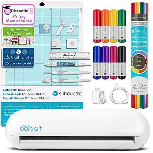Silhouette Portrait 2 (Cameo Mini) Electronic Cutting Machine with Auto Adjusting Blade and Bluetooth, Vinyl, Tools, Sketch Pens, Guides, and More