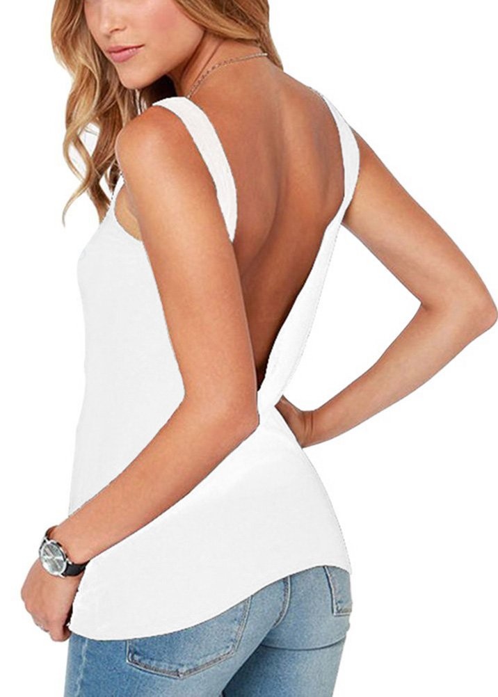 Mippo Women's Sexy Open Back Workout Top Loose Fit Halter Tops Backless Tank Top Knit Soft Crop Top Junior Plain Tees White L