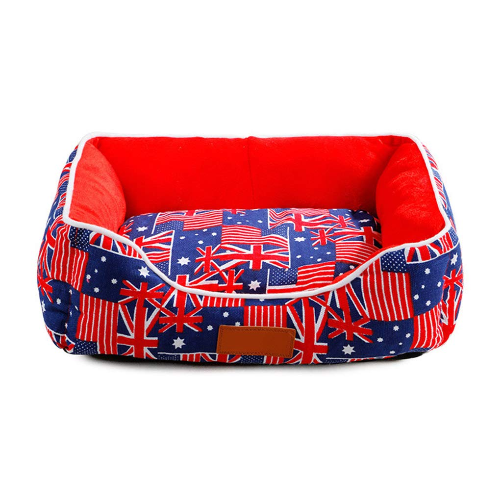 National flag SSile Pet Bed, Indoor Dog Bed Cat Nest Removable and Washable Pet Soft Cushion Breathable Pet Sofa SL022 (color   Flower, Size   M)
