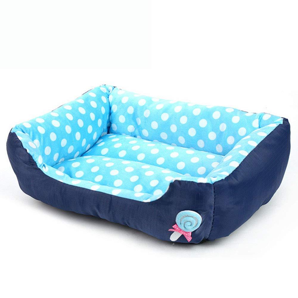 Sof/á Perrera Pelusa Lollipop Dot Perrera Cuadrada Gato Mat,Blue,S GCSEY Casa De Cama para Mascotas All Seasons Casa De Cama De Tama/ño Mediano para Perros Peque/ños