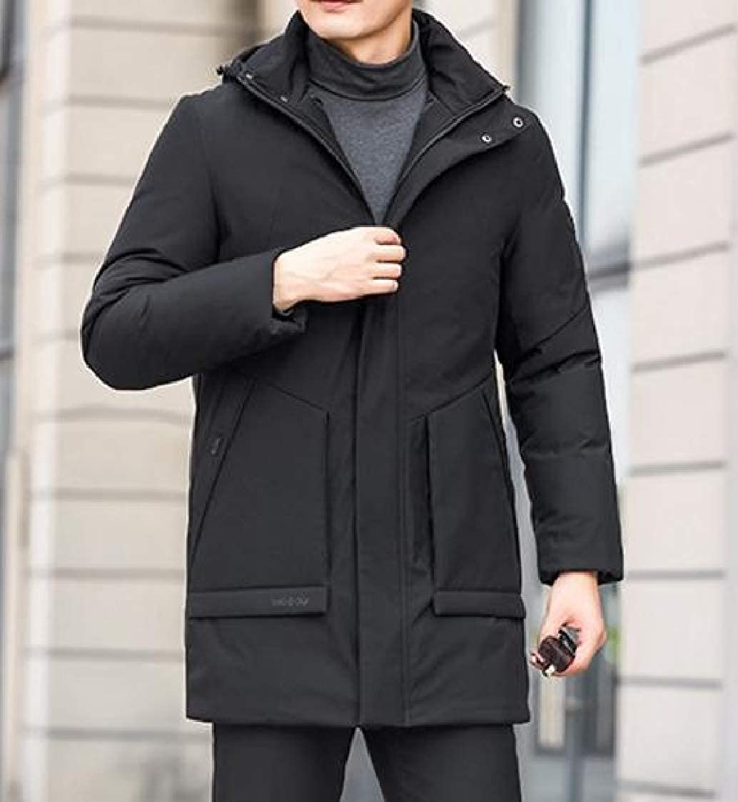 DressU Mens Zip-up Open Front Outwear Trim-Fit Keep Warm Hooded Winter Down Coat
