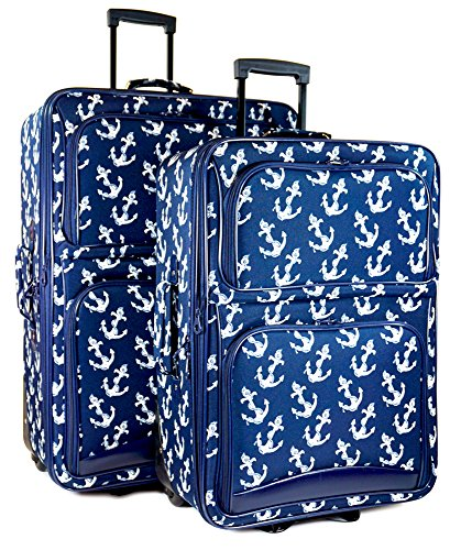 Upright Navy Large Rolling Luggage - Ever Moda Anchor 2-Piece Luggage Set (Navy Blue)