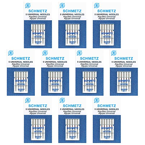 - 50 SchmetzUniversal Sewing Machine Needles -75/11- Box of 10 cards