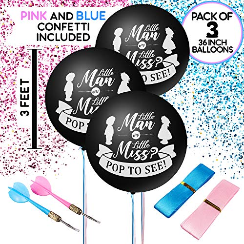 (Baby Gender Reveal Confetti Balloon for Boy or Girl in Pink Blue and Gold - 3 Pcs 36 Inches Large Black Balloons - Blue - Pink - Gold Gender Reveal)
