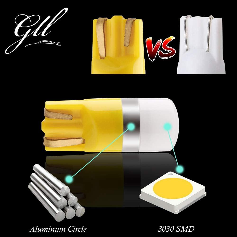 GLL T10 501 LED Ampoules Vert W5W 194 168 2825 Wedge T10 Ampoules Sans Capuchon 3030-1SMD Pour la Voiture Int/érieur D/ôme L/éger Tableau de Bord Lat/éral Lumi/ère de Plaque de Tronc