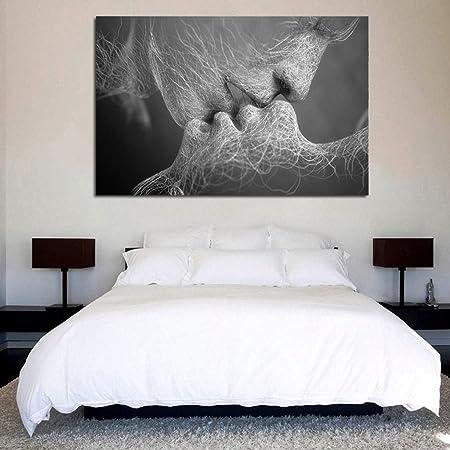 WANG XIN D/écor de la Maison Fond Mur Brochure De Mode Noir Blanc Amour Baiser Art Abstrait en Toile Peinture Mur Art Photo Imprimer Contient Cadre Couleur : Bleu, Taille : S